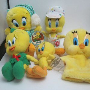 Looney Tunes Tweety Pie plush and hand puppet lot